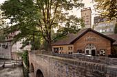 Zirbelnuss Canal Bridge and Lower Brunnenturm at the Ensemble Unteres Brunnenwerk, UNESCO World Heritage Site Historical Water Management, Augsburg, Bavaria, Germany