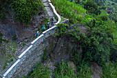 Kap Verde, steiler Wanderweg im bergigen Hinterland der Insel Santo Antao mit exotischen Pflanzen