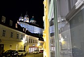 Evening, old town with cloister Melk, Lower Austria, Austria