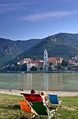 Blick über die Donau bei Dürnstein, Wachau, Niederösterreich, Österreich