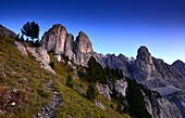 after sunset on the Gardena Pass with Sella, Dolomites, South Tyrol, Italy