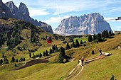 Hiking on the Gardena Pass at the Baita hut with Sassolungo, Alta Badia, Dolomites, South Tyrol, Italy