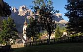 Church of Colfosco with Sella, Alta Badia, Dolomites, South Tyrol, Italy