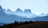 View from the Campolongo Pass to the east, Dolomites, South Tyrol, Italy
