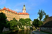 on the Vltava river with a castle, Krumau on the Vltava river, South Bohemia, Czech Republic