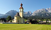Church Holy Cross in Going am Wilden Kaiser, Tyrol, Austria