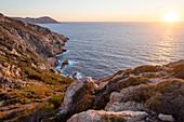 Dramatic coastline in Calvi along the north west coast, Corsica, France, Mediterranean, Europe