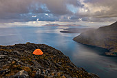 Wild camping on the top of Sgurr Na Stri on the Isle of Skye with views towards the Isle of Soay, Isle of Skye, Inner Hebrides, Scottish Highlands, Scotland, United Kingdom, Europe