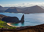 Pinnacle Rock, elevated view, Bartolome Island, Galapagos, UNESCO World Heritage Site, Ecuador, South America