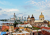 View over Old Town towards San Pedro Claver Church and Bocagrande, Cartagena, Bolivar Department, Colombia, South America