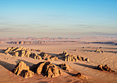 Landscape of Wadi Rum at sunrise, aerial view from a balloon, Aqaba Governorate, Jordan, Middle East