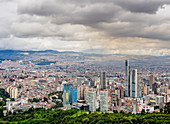 High rise buildings seen from Mount Monserrate, Bogota, Capital District, Colombia, South America