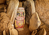 Präkolumbianische Skulptur, Alto el Purutal, Archäologischer Park San Agustin, UNESCO-Welterbestätte, Department Huila, Kolumbien, Südamerika
