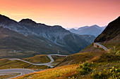 Sunset at the top of the Stelvio Pass (Passo dello Stelvio), Eastern Alps, Italy, Europe