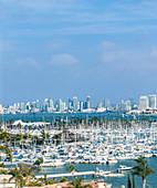 City skyline overlooking harbor, San Diego, California, United States