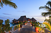 Deck and restaurant over tropical ocean, Bora Bora, French Polynesia