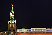 Illuminated ornate building, Moscow, Russia