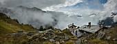 Stone cottage near Mt Blanc trail, Bertone Refuge, Italy