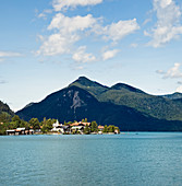 Mountainside Town and Lake,Walchensee settlement, Walchensee, Bavaria, Germany, Europe