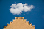 Lone Cloud Over Parapet of Building,Salt Lake City, Utah, United States