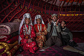 Kyrgyz family in yurt, Afghanistan, Asia