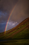 Rainbow in the Transala mountains, Kyrgyzstan, Asia