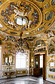 Baroque interior, Hall of Mirrors, Schloss Favorite, Rastatt, Black Forest, Baden-Wurttemberg, Germany