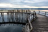 Wooden walkway in the Pfahlbauten Unteruhldingen museum on Lake Constance. Baden-Wuerttemberg, Germany