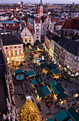 View of the Christmas market on Marienplatz from the town hall tower, Munich, Bavaria, Germany
