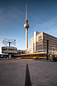 View of the TV tower and world clock from Alexanderplatz, Mitte, Berlin, Germany