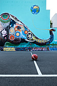 Picture of a giant elephant on the firewall of a sports field, Kreuzberg, Berlin, Germany,