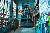 Street art picture in the old boiler house of the abandoned consumer meat shop of the GDR, Berlin-Spandau, Berlin, Germany