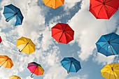 colorful umbrellas, Werfenweng, Salzburg, Austria