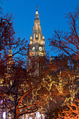 Christmas lights in front of the town hall, Rathausplatz, Christkindlmarkt, 1st district Inner City, Vienna, Austria