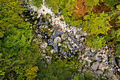 Savica riverbed from the air, Ukanc, Triglav National Park, Slovenia