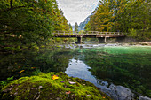 Bridge over the Savica River in Ukanc, Triglav National Park, Slovenia