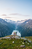 Family hike to the Olperer hut in the rear Zillertal, Tyrol, Austria