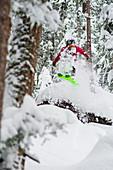 Skifahrer im Sprung durch einen verschneiten Wald, Hochzillertal, Tirol, Österreich