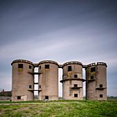 Old concrete grain silos, Drizzona, Province of Cremona, Italy