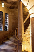 View of the spiral staircase in the stair tower of Hochkönigsburg, Orschwiller, Alsace, France, Europe