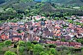 Blick auf Kayserberg vom Burgturm aus, Haut-Rhin, Grand Est, Elsass, Frankreich, Europa