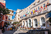 Capri shopping streets with Hotel Quisisana, Capri Island, Gulf of Naples, Italy