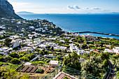 View of Marina Grande and the Funicolare from Capri, Capri Island, Gulf of Naples, Italy