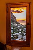 red sunset on Capri, Capri Island, Gulf of Naples, Italy