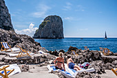 Bathhouse Fontelina with the Faraglioni rocks on Capri, Capri Island, Gulf of Naples, Italy