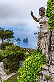 View from Monte Solaro to Capri and the Faraglioni rocks, Capri Island, Gulf of Naples, Italy