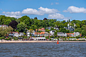 View from the Elbe to the houses in Övelgönne and the Strandperle in Hamburg, northern Germany, Germany