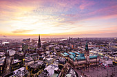 Panoramic view of Hamburg with the town hall and Elbphilharmonie and Elbe in the background, Hamburg, northern Germany, Germany