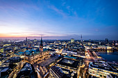 Panoramic view at the blue hour on Hamburg with the town hall and the Inner Alster and Elbe in the background, Hamburg, Northern Germany, Germany