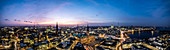 Panoramic view of Hamburg at the blue hour with the Elbphilharmonie, the St. Nickolai memorial, the town hall and the Binnen and Aussenalster, Hamburg, northern Germany, Germany